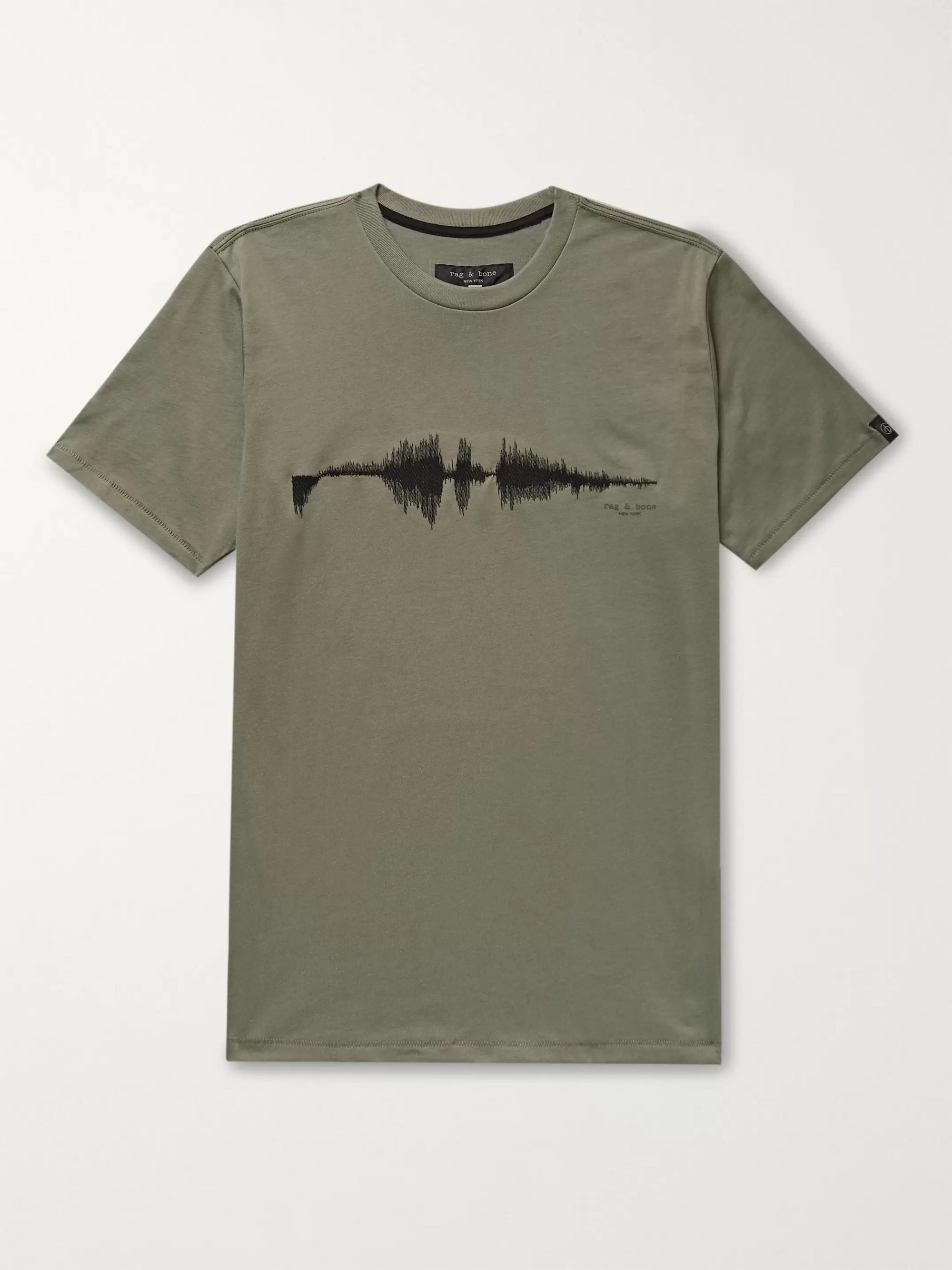 Sound Wave Embroidered Cotton Jersey T Shirt by Rag & Bone