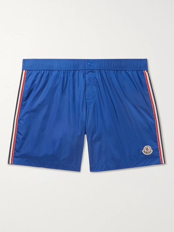 Moncler Slim-Fit Mid-Length Logo-Appliquéd Swim Shorts