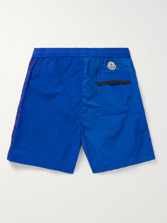 Moncler Logo-Embroidered Grosgrain-Trimmed Shell Shorts