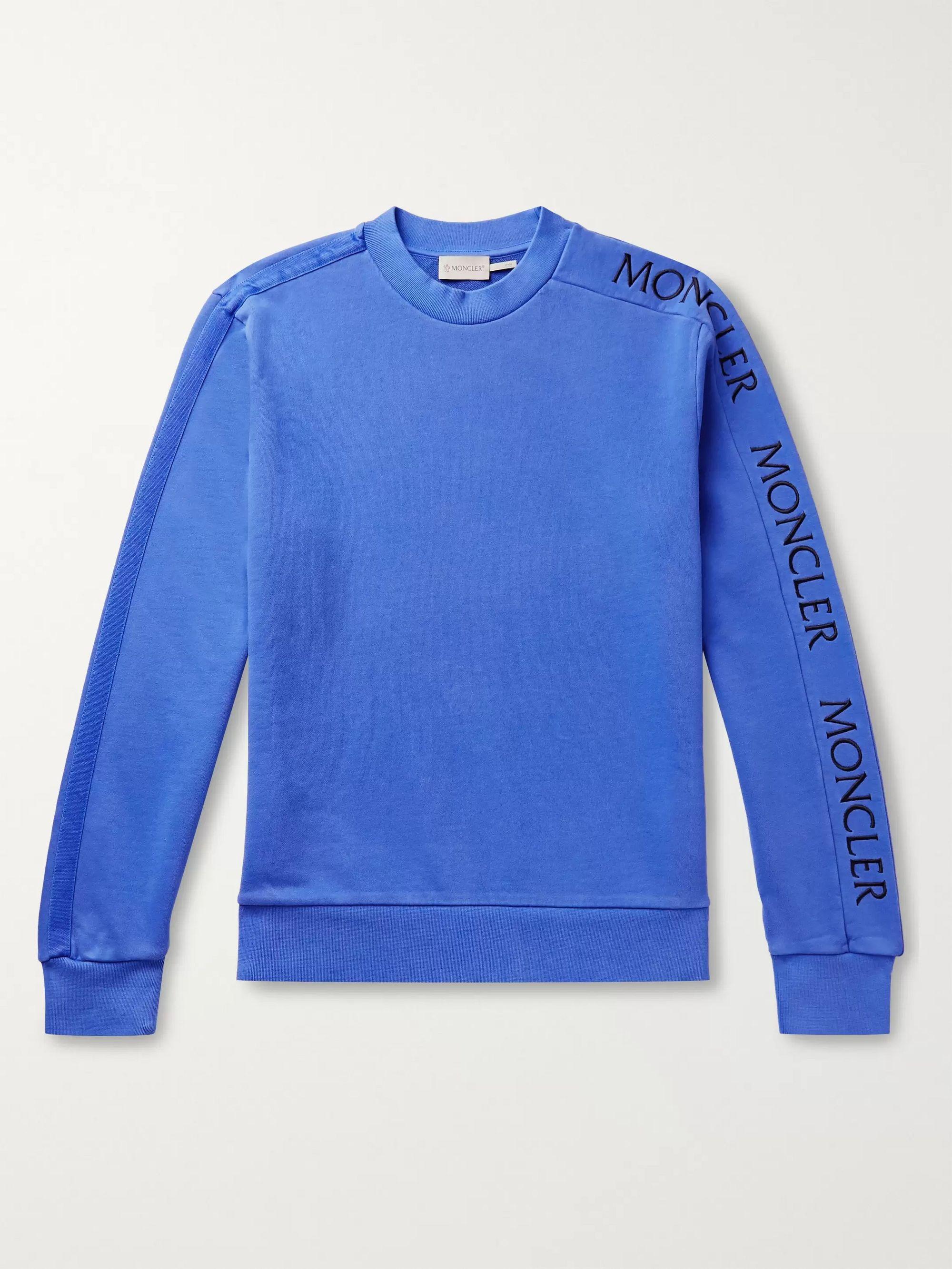 몽클레어 Moncler Blue Slim-Fit Logo-Embroidered Loopback Cotton-Jersey Sweatshirt,Blue
