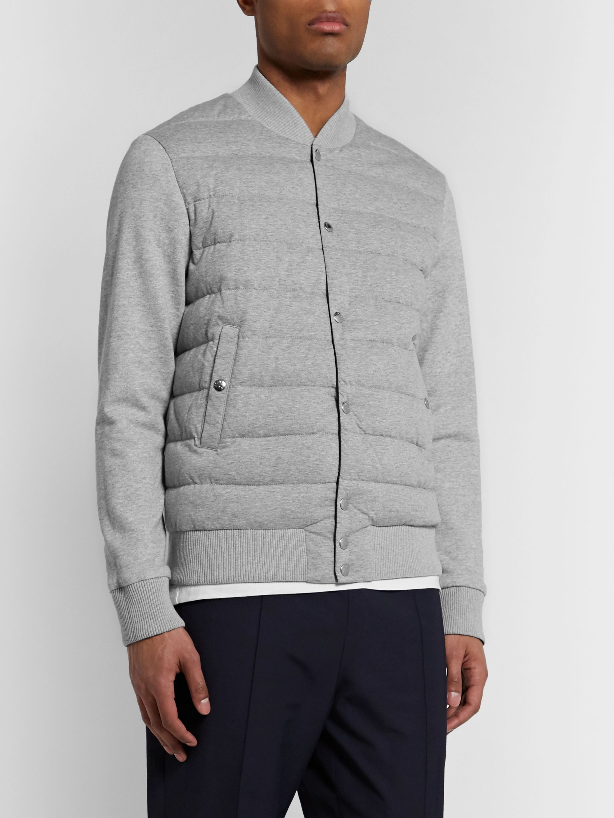Moncler Reversible Mélange Cotton-Jersey and Shell Down Bomber Jacket