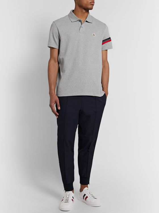 Moncler Logo-Appliquéd Webbing-Trimmed Cotton-Piqué Polo Shirt