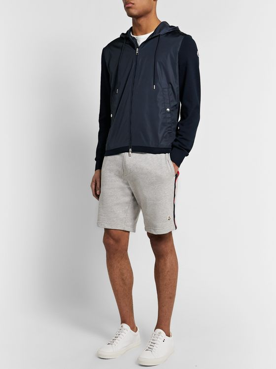 Moncler Panelled Loopback Cotton-Jersey and Shell Zip-Up Hoodie