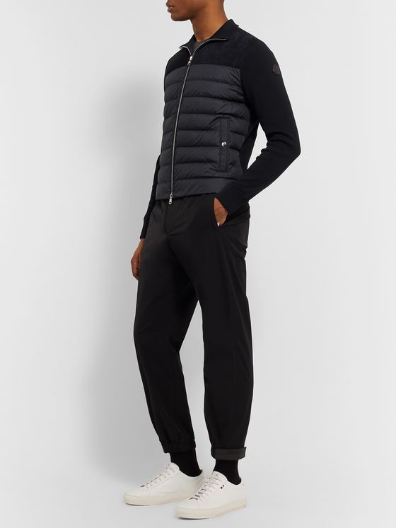 Moncler Suede-Panelled Quilted Shell and Cotton-Jersey Down Jacket