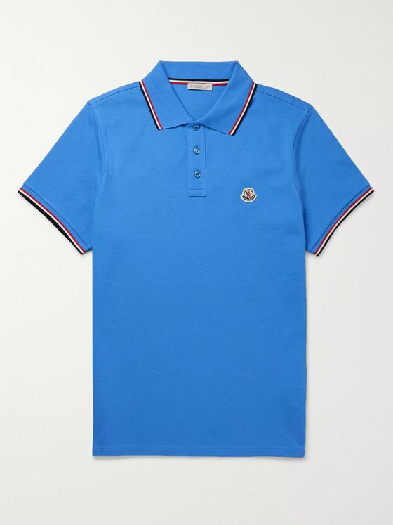 Moncler Logo-Appliquéd Striped Cotton-Piqué Polo Shirt