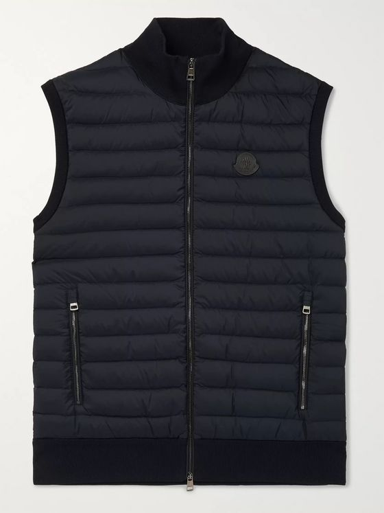 Moncler Leather-Trimmed Panelled Cotton-Blend and Quilted Shell Down Gilet