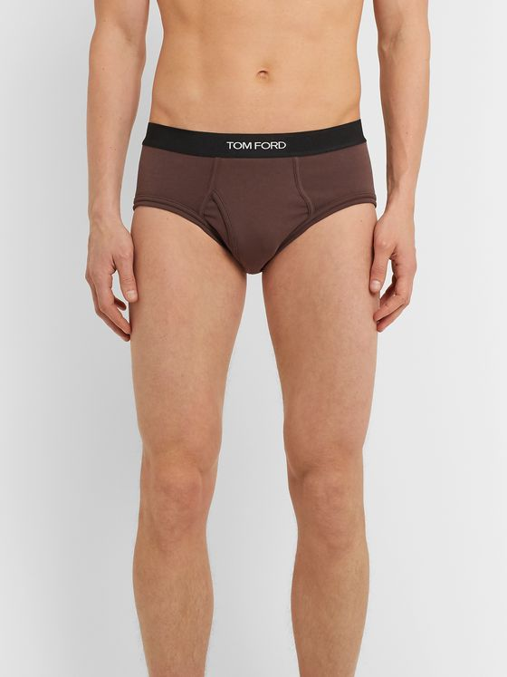 TOM FORD Mélange Stretch-Cotton Briefs