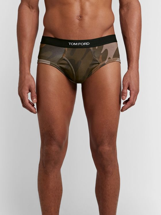 TOM FORD Camouflage-Print Stretch-Cotton Briefs