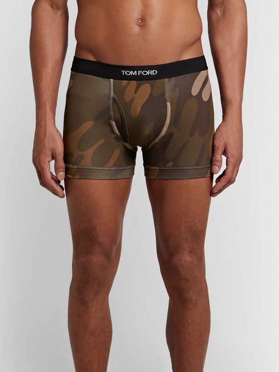TOM FORD Camouflage-Print Stretch-Cotton Boxer Briefs