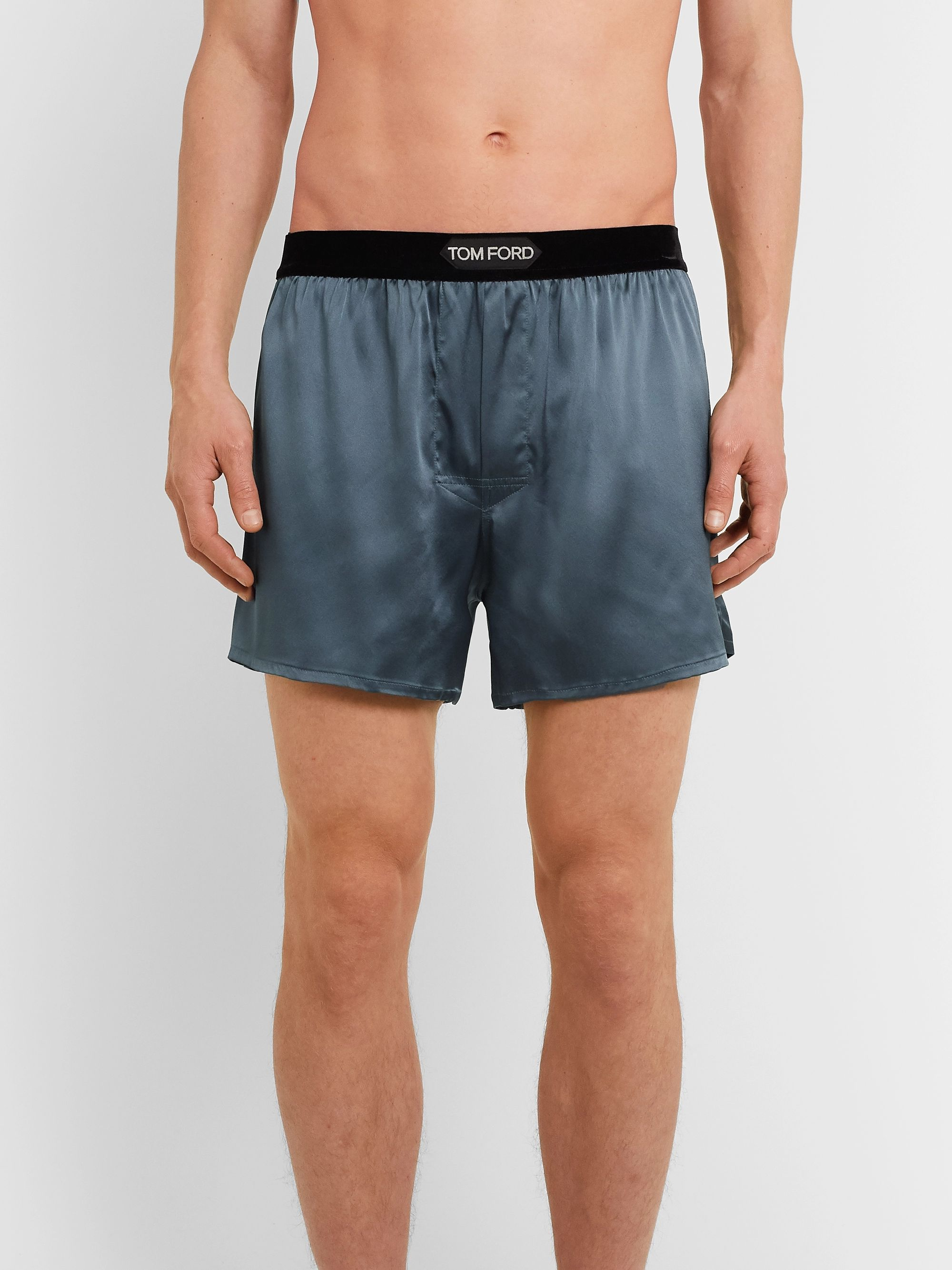 TOM FORD Velvet-Trimmed Stretch-Silk Satin Boxer Shorts