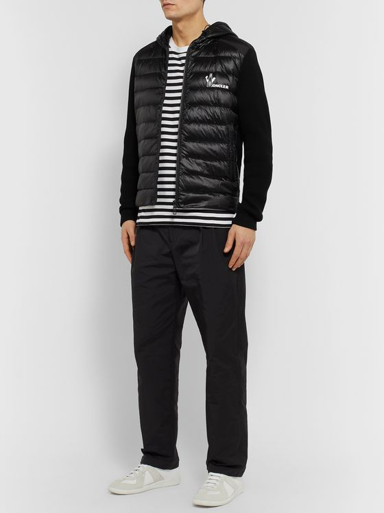 Moncler Slim-Fit Panelled Waffle-Knit Cotton and Quilted Shell Down Zip-Up Sweater