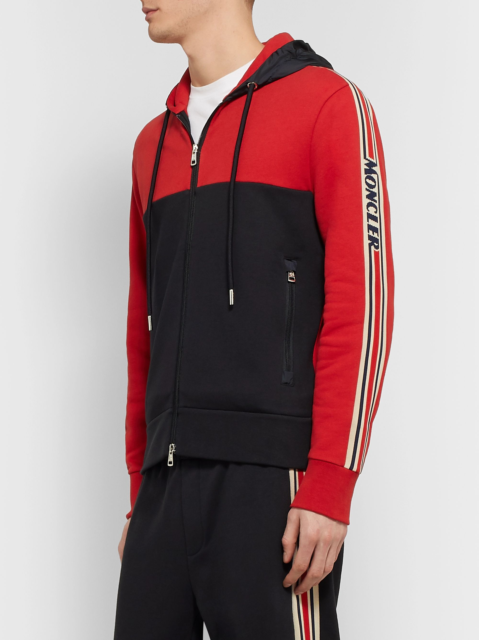 Moncler Grosgrain-Trimmed Loopback Cotton-Jersey and Shell Zip-Up Hoodie