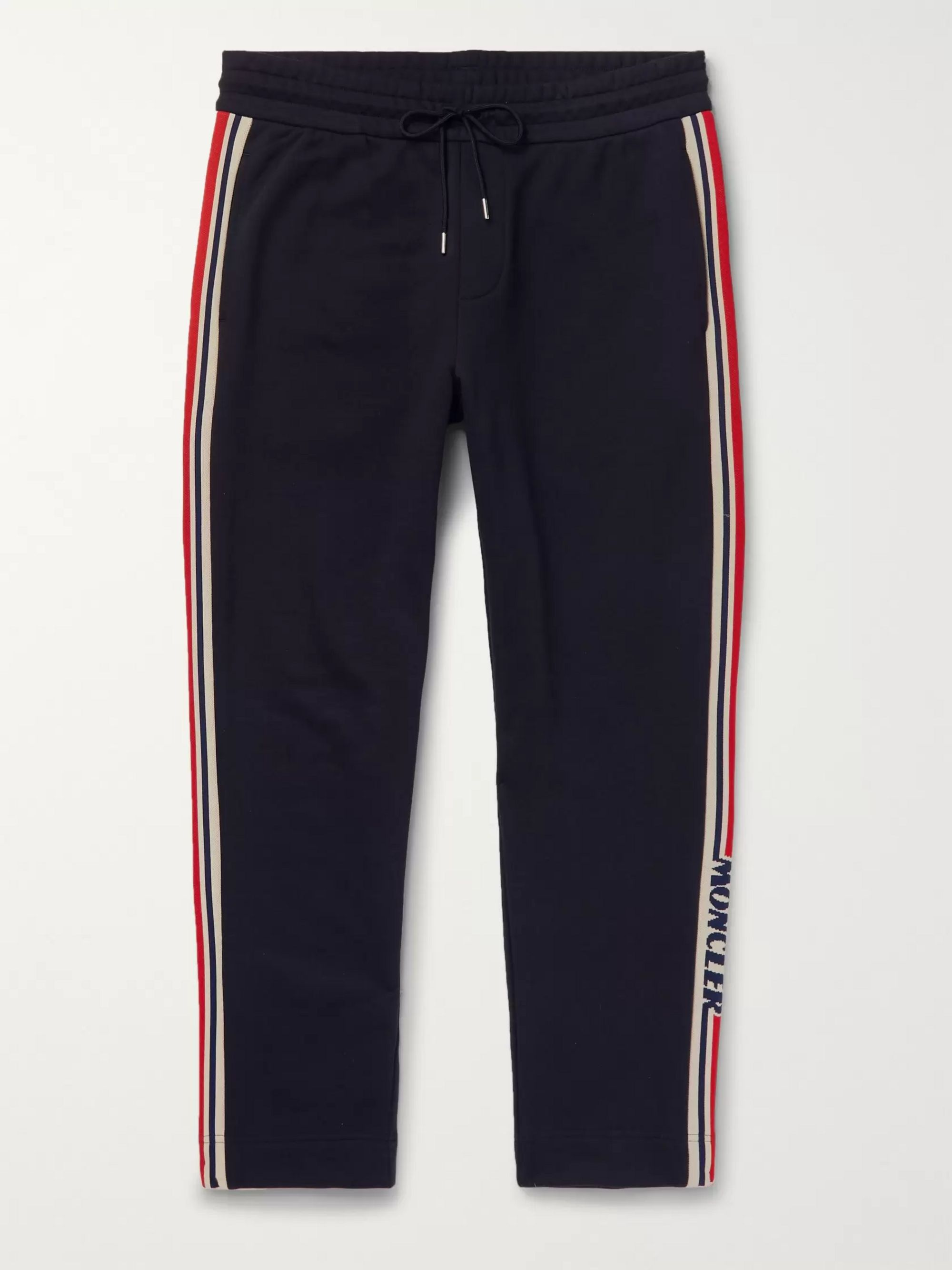 MONCLER Slim-Fit Grosgrain-Trimmed Loopback Cotton-Jersey Track Pants