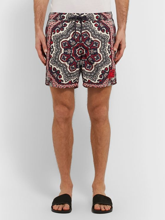 Moncler Mid-Length Printed Shell Swim Shorts