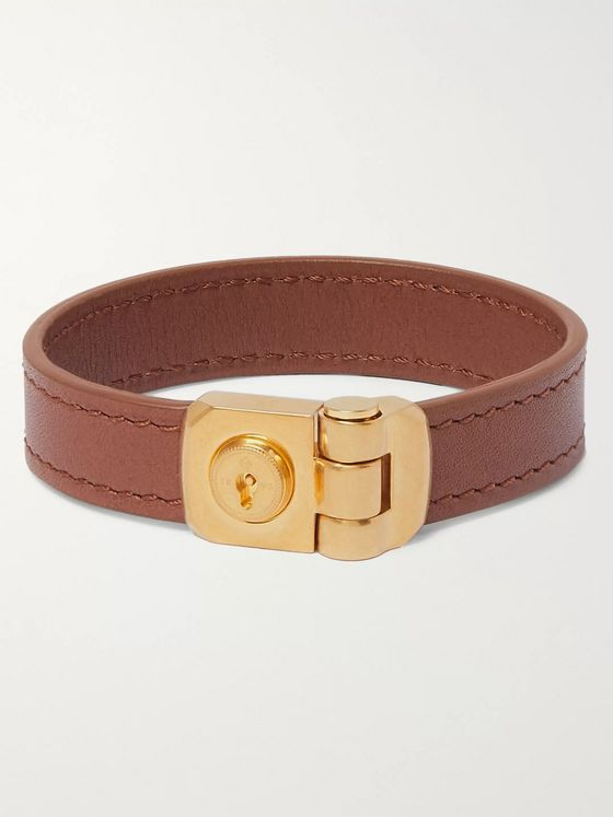 Dunhill Leather and Gold-Tone Bracelet