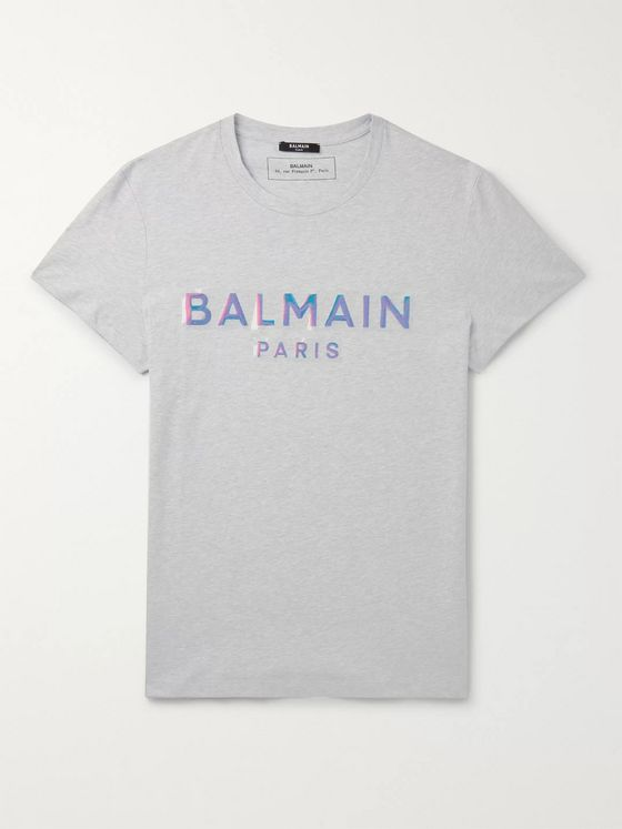 Balmain Slim-Fit Iridescent Logo-Embossed Cotton-Jersey T-Shirt