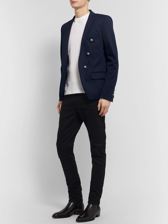 Balmain Navy Slim-Fit Cotton-Blend Blazer