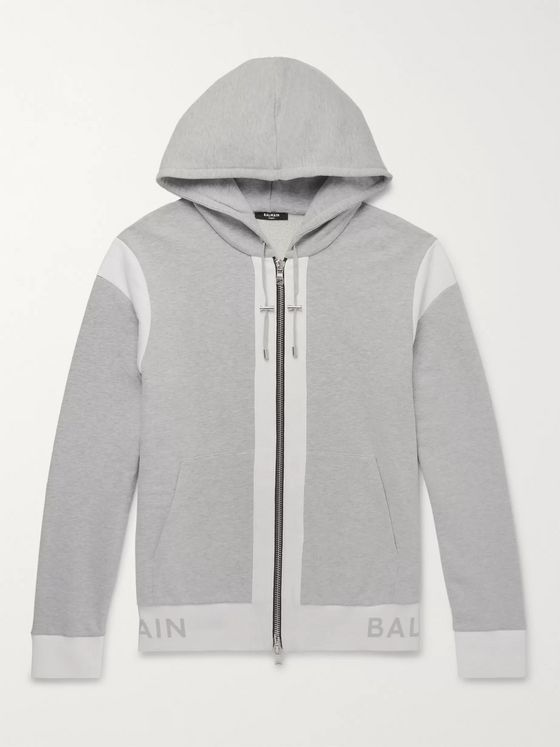Balmain Logo-Jacquard Mélange Loopback Cotton-Jersey Zip-Up Hoodie