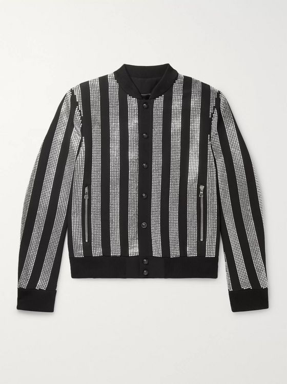 Balmain Slim-Fit Embellished Crepe Bomber Jacket