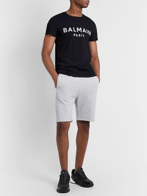 Balmain Striped Loopback Cotton-Jersey Shorts