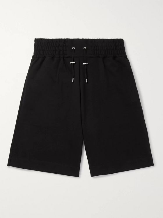 Balmain Logo-Flocked Loopback Cotton-Jersey Shorts