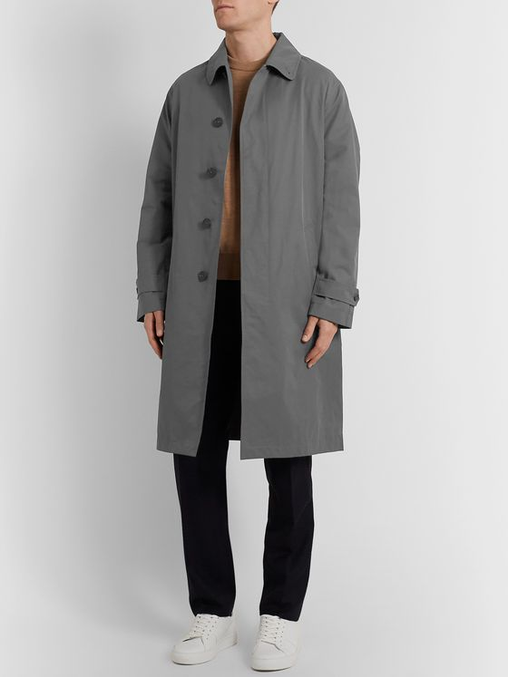 Mr P. Belted Bonded Cotton-Blend Raincoat
