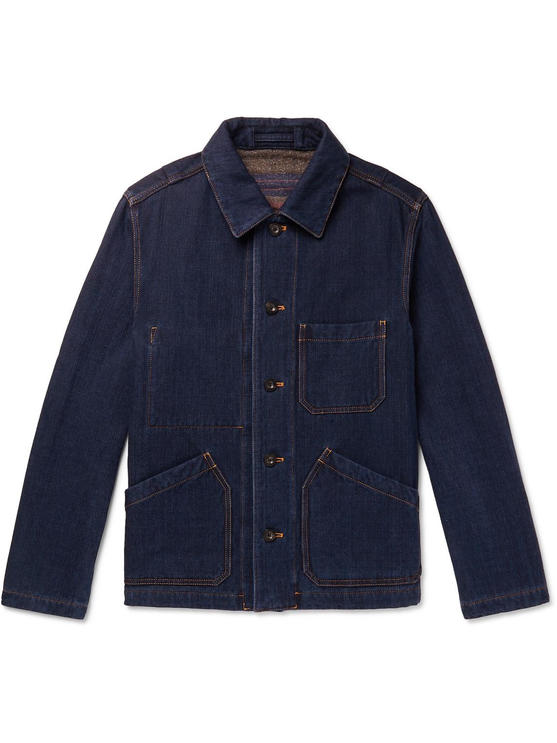 mr p. - double-faced denim chore jacket - men - blue - xs