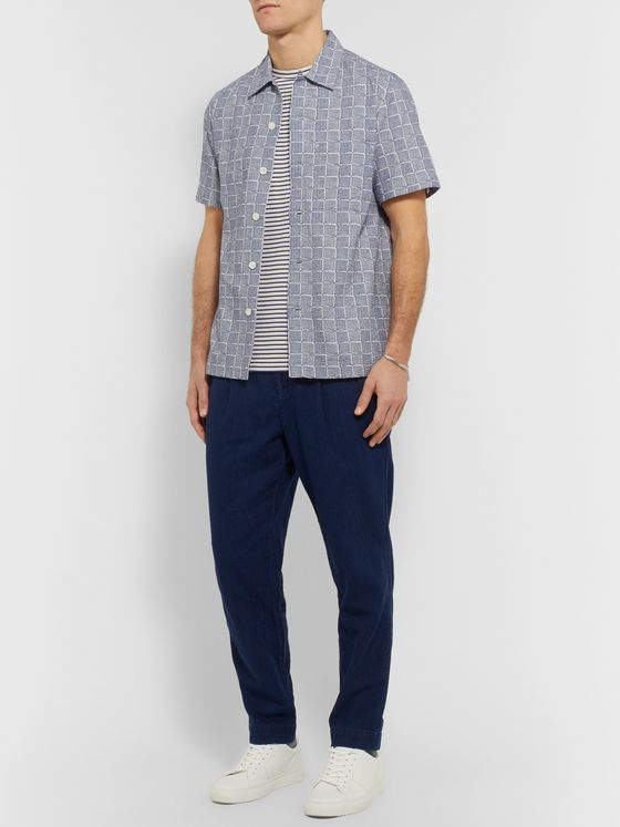 MR P. Camp-Collar Printed Cotton-Seersucker Shirt