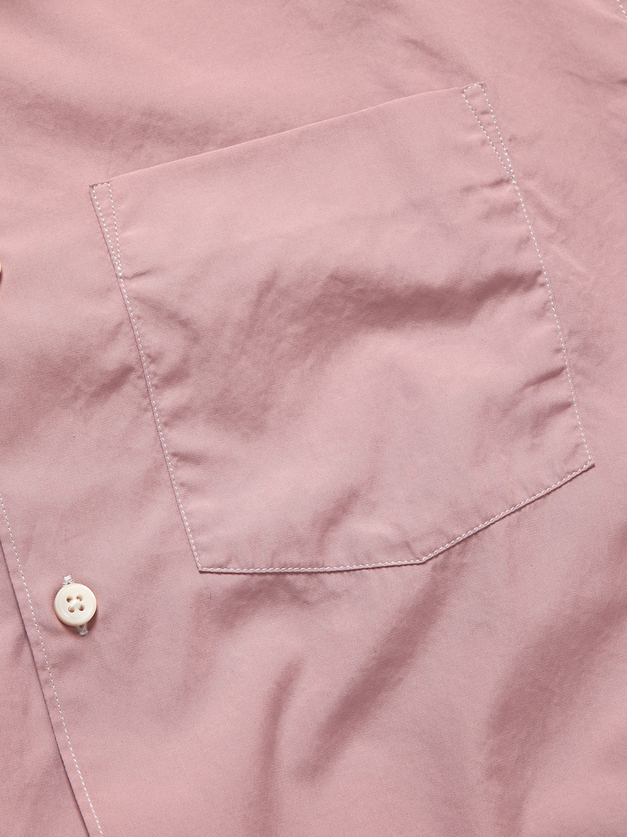 Mr P. Slim-Fit Contrast-Stitched Cotton-Poplin Shirt