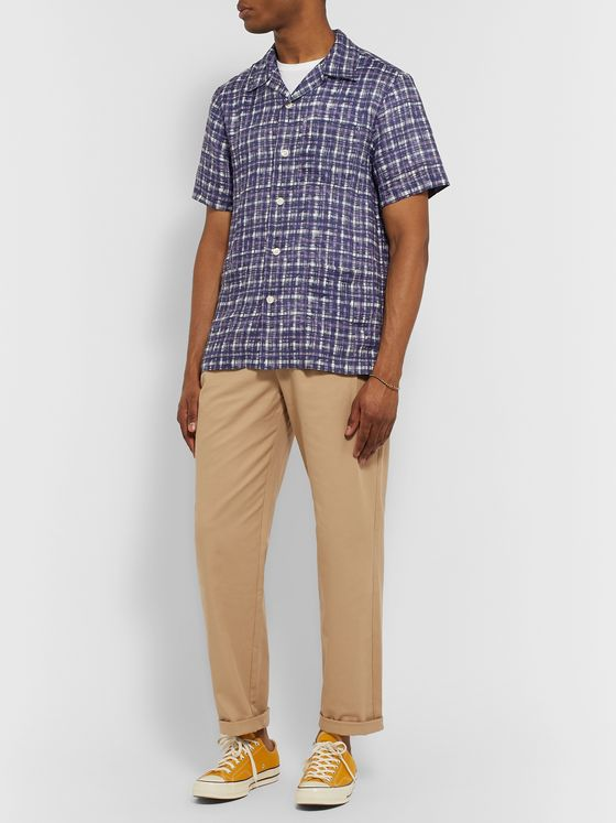 Mr P. Camp-Collar Checked Linen Shirt