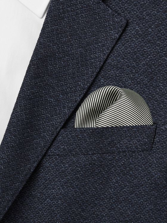 TOM FORD Pinstriped Silk-Twill Pocket Square