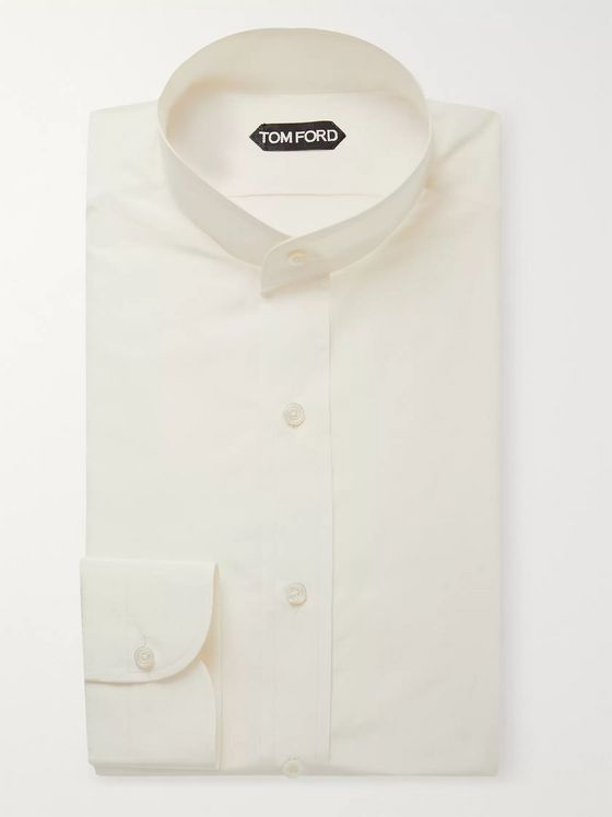TOM FORD Cream Slim-Fit Grandad-Collar Cotton and Silk-Blend Shirt