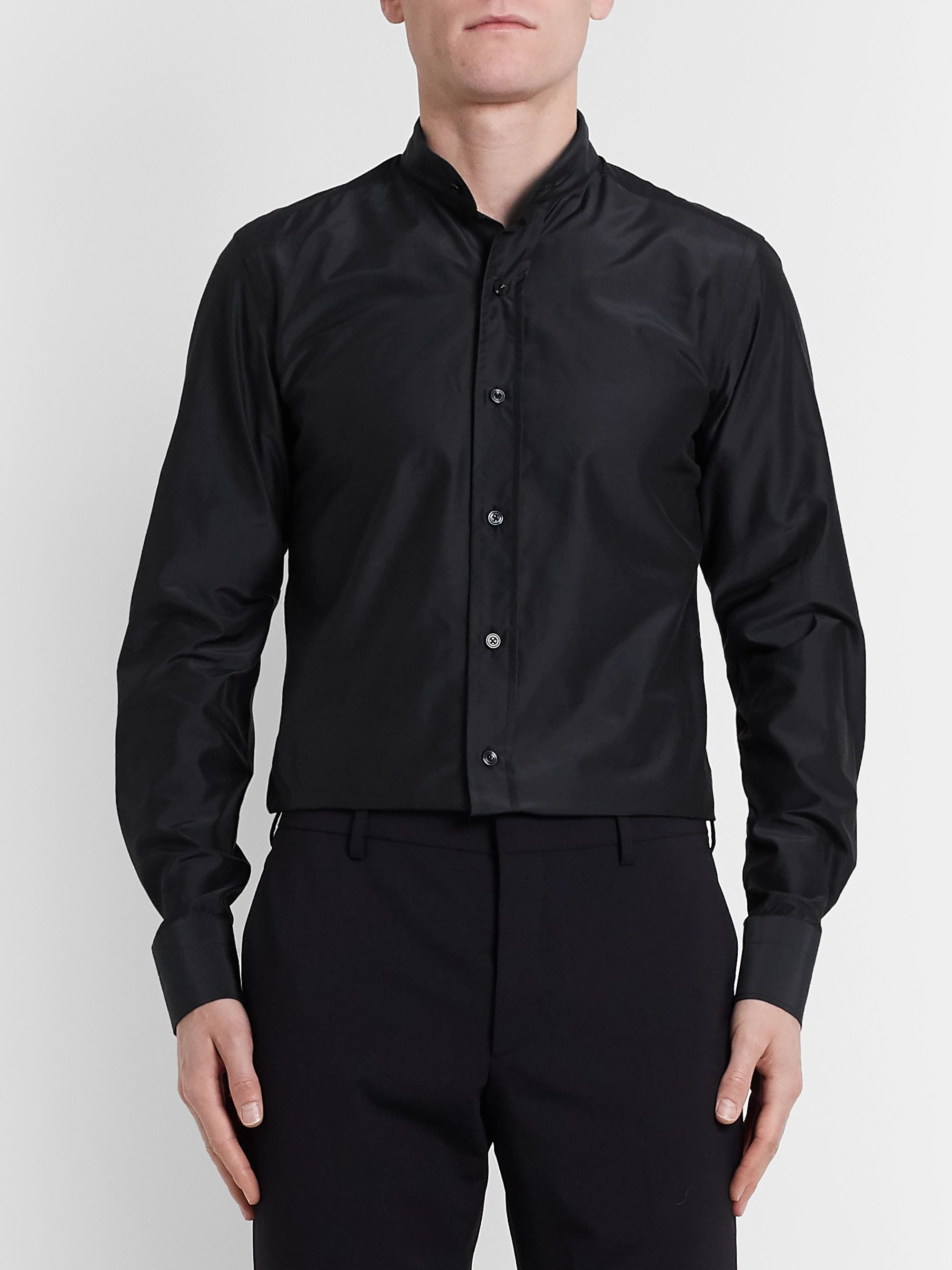 TOM FORD Midnight-Blue Grandad-Collar Cotton and Silk-Blend Shirt