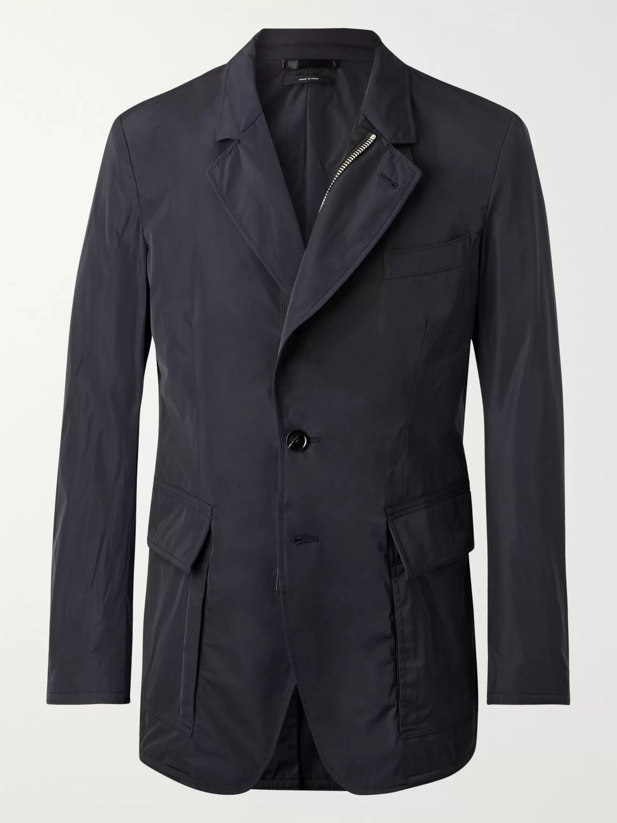 TOM FORD Slim-Fit Leather-Trimmed Shell Blazer