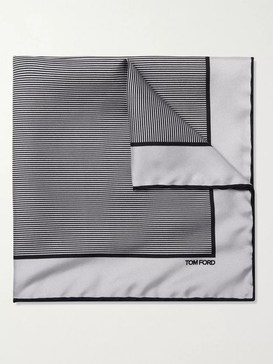 TOM FORD Striped Silk-Twill Pocket Square