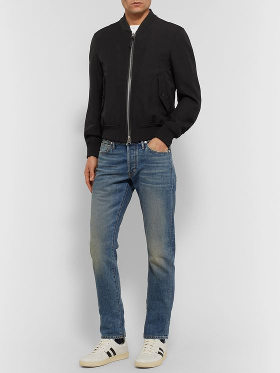 TOM FORD Slim-Fit Wool-Blend Hopsack Bomber Jacket