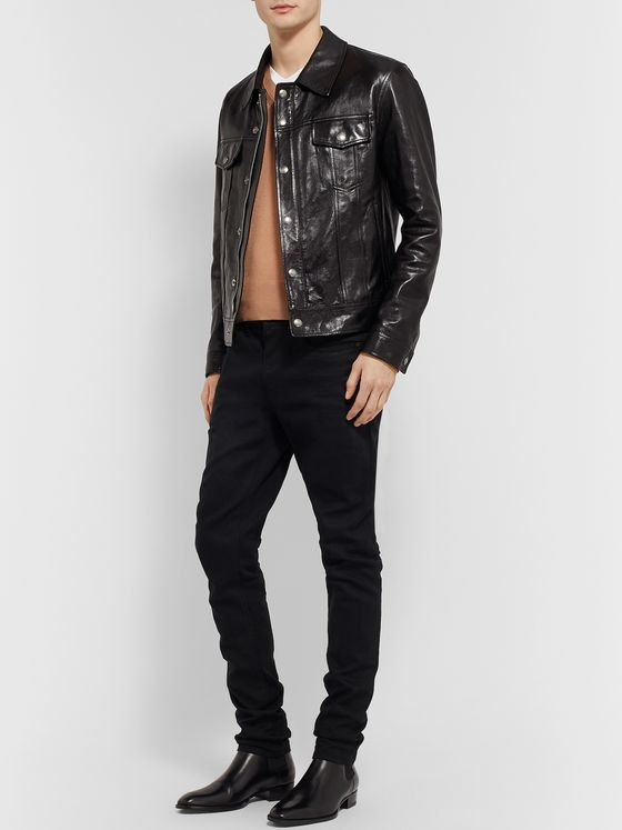TOM FORD Polished-Leather Trucker Jacket