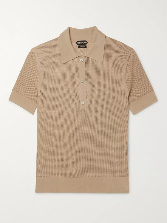 TOM FORD Open-Knit Polo Shirt