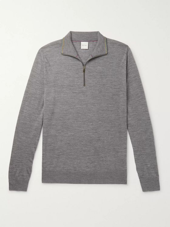 Paul Smith Slim-Fit Merino Wool Half-Zip Sweater