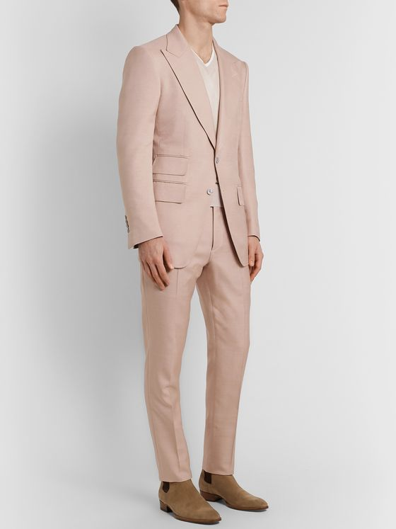TOM FORD Atticus Slim-Fit Belted Silk Suit Trousers