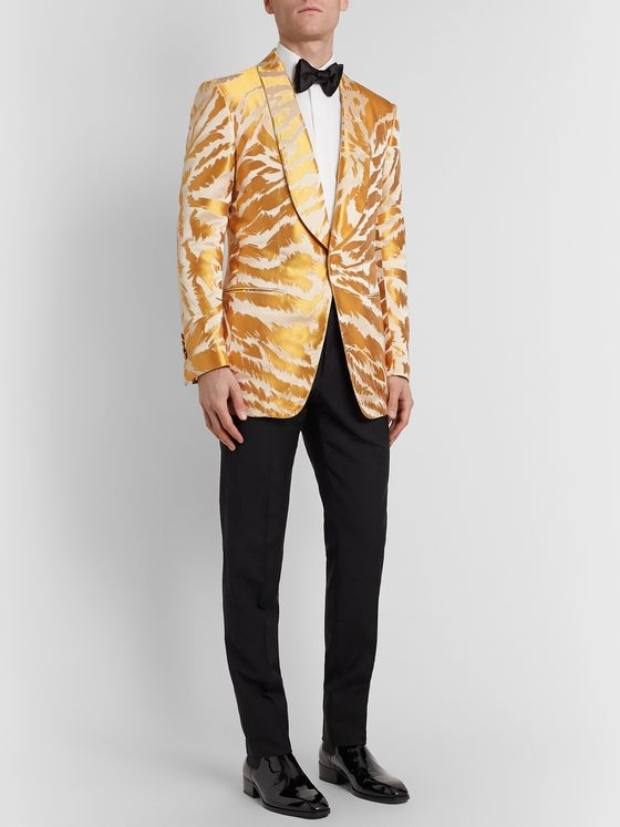 TOM FORD Slim-Fit Shawl-Collar Zebra-Jacquard Satin and Faille Tuxedo Jacket