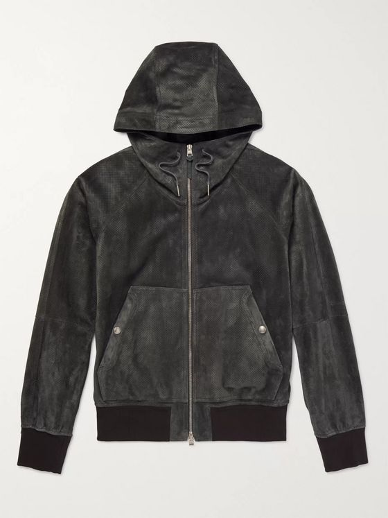 TOM FORD Perforated Suede Hooded Bomber Jacket