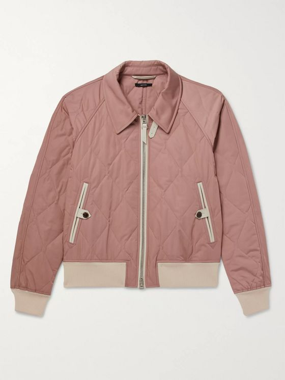 TOM FORD Leather-Trimmed Quilted Shell Bomber Jacket