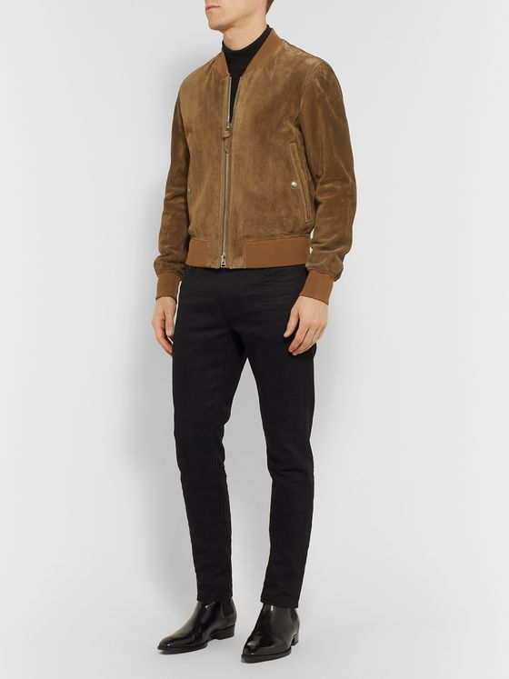 TOM FORD Perforated Suede Bomber Jacket