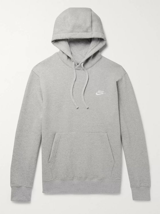 NIKE Sportswear Mélange Logo-Embroidered Fleece-Back Cotton-Blend Jersey Hoodie
