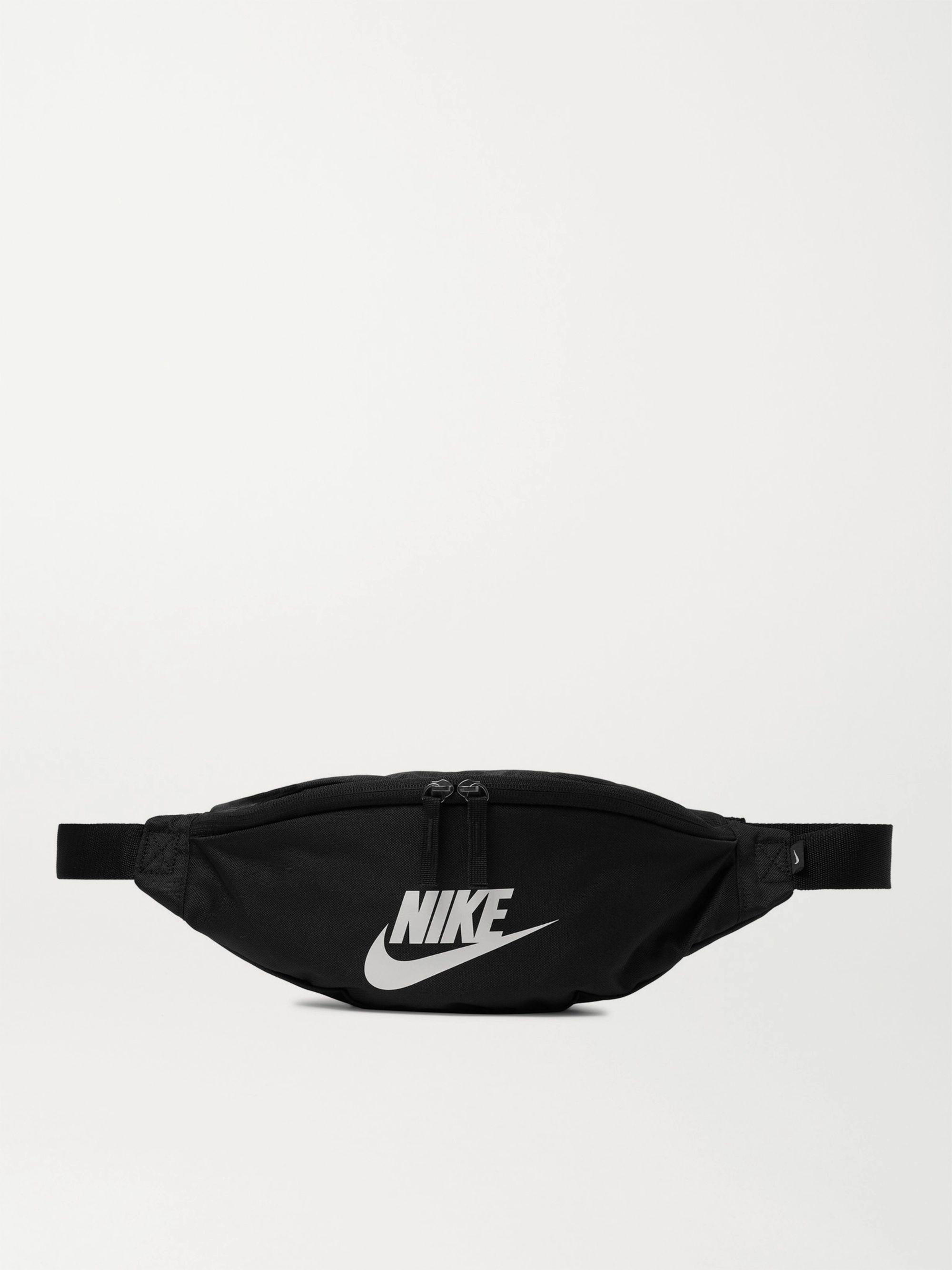 나이키 Nike Sportswear Heritage Logo-Print Canvas Belt Bag,Black