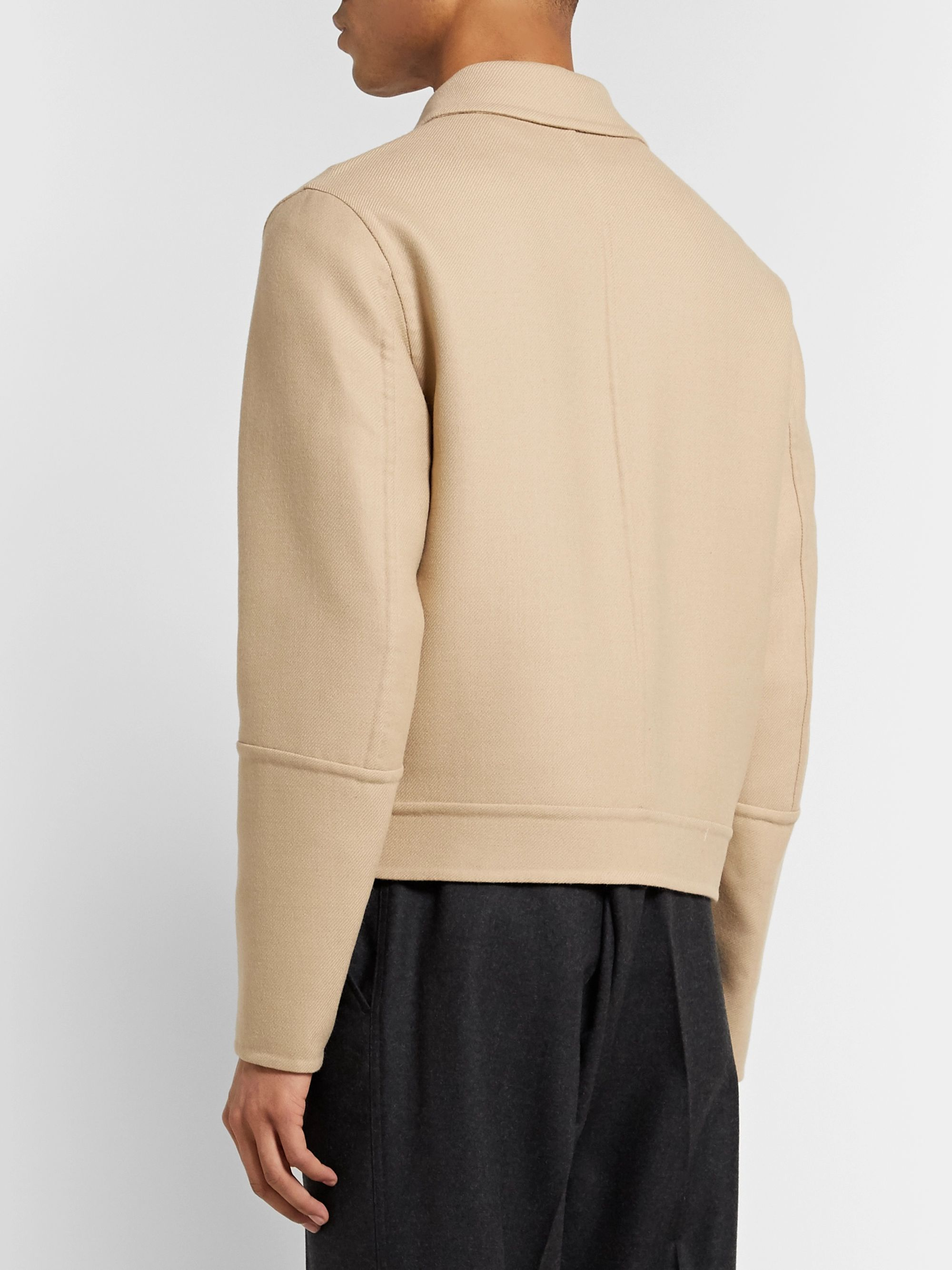 AMI Cropped Wool-Blend Twill Jacket