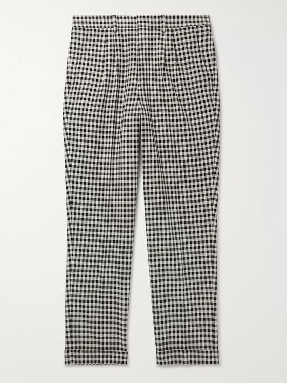 AMI Slim-Fit Tapered Cropped Checked Cotton-Gabardine Trousers