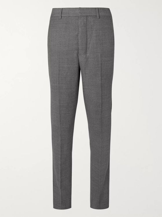 AMI Grey Slim-Fit Tapered Virgin Wool Suit Trousers