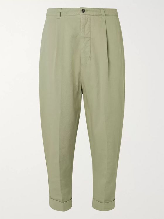 AMI Tapered Cropped Pleated Cotton-Gabardine Trousers
